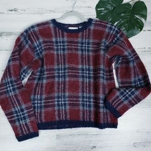 Vintage Plaid Mohair Blend Crew Neck Sweater